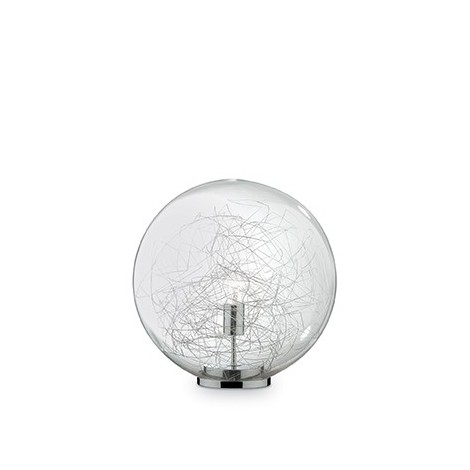 Mapa Max table lamp with chromed frame and blown glass decorated with aluminum wires