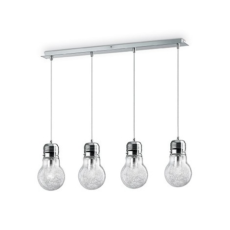 Suspension lamp Luce Max available in 4-7-3 and one light. Metal structure with blown and decorated glass