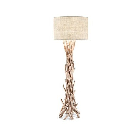 Driftwood metal floor lamp with decorative elements in natural wood and fabric covered lampshade
