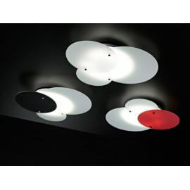 Concentrik metal ceiling lamp with glass diffusers and available in three colors