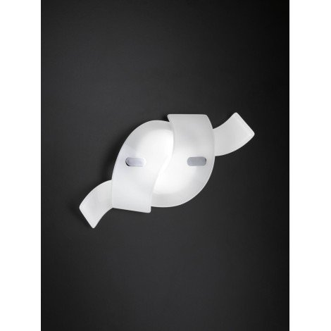Twist metal wall lamp with led illuminated glass diffuser