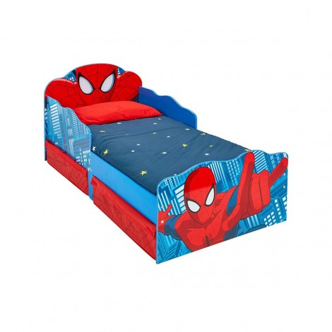 Spiderman-shaped bed with illuminated eyes and drawers under the structure