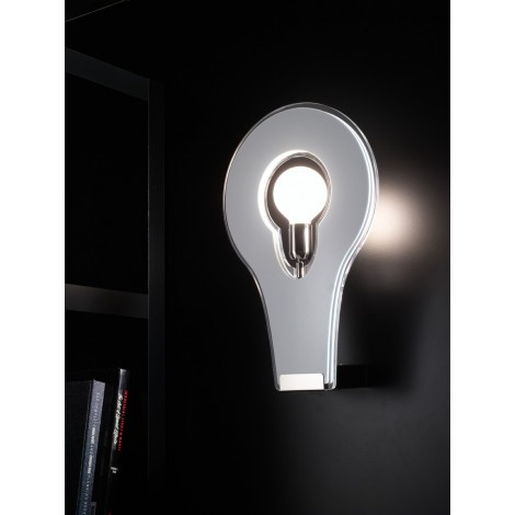 Flat wall lamp in chromed metal and PMMA diffuser in black, white or large or small orange