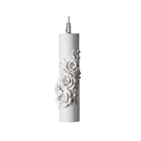 Capodimonte suspension lamp in matt white ceramic. Lamp lighting 1 x max 35 watts included