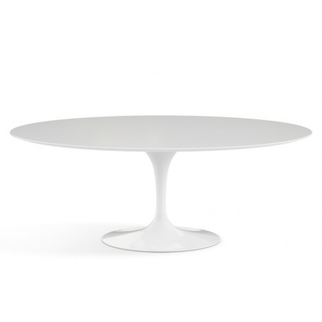 Faithful re-edition of the OVALE Tulip table by Eero Saarinen with Carrara marble or laminate top
