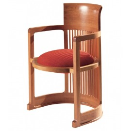 Re-edition of the Barrel armchair by Frank Lloyd Wright in solid cherry