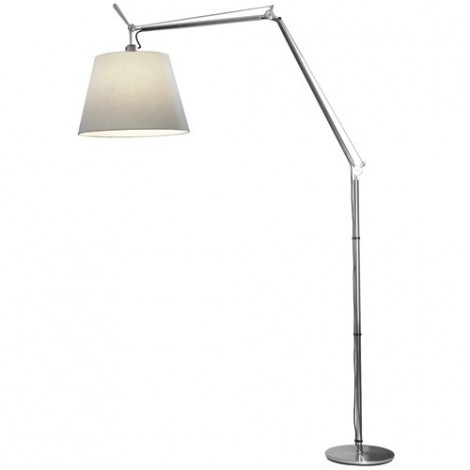 Reproduction of the Tolomeo floor lamp with aluminum structure and fabric lampshade. Suitable for rooms and homes