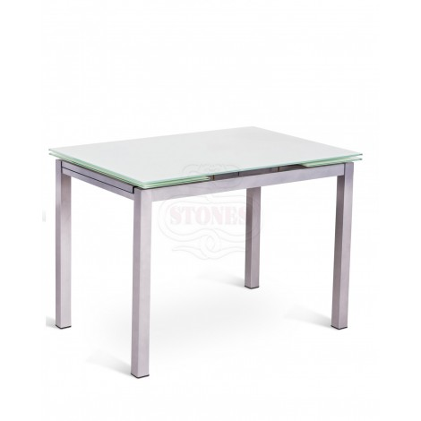 Dining Table Baud with two extensions,  metal structure and  three different colors of glass shelf