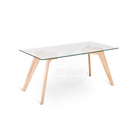 Fixed Dafne table with oak wood structure and top in transparent or etched white glass
