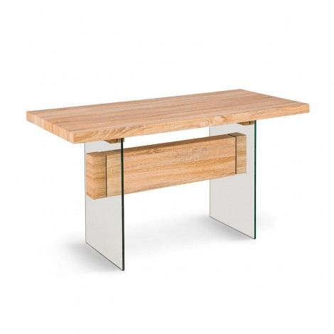 Fixed Table Abaco with glass structure and wooden shelf walnut finish