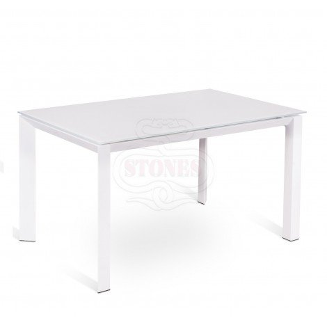 Account extendable table with metal structure and glass top. Available in 3 finishes