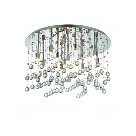 Moonlight ceiling lamp in chromed or gold metal with 12 G9 lights