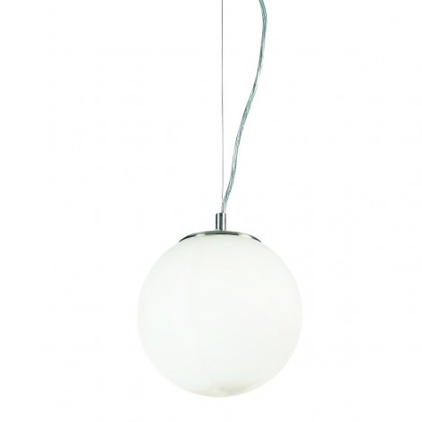 White Mapa suspension lamp with chromed metal structure and blown glass diffuser available in three sizes