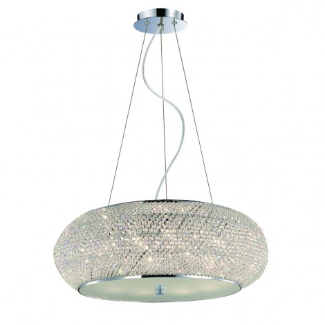 Pashà suspension lamp in chromed metal and diffuser composed of rows of cut crystal pearls
