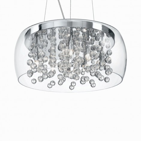 Audi-80 suspension lamp with 8 lights in chromed metal and decorative elements in glass