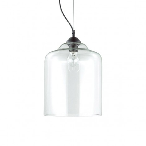 Bistrò Square suspension lamp with black metal frame and transparent glass diffuser