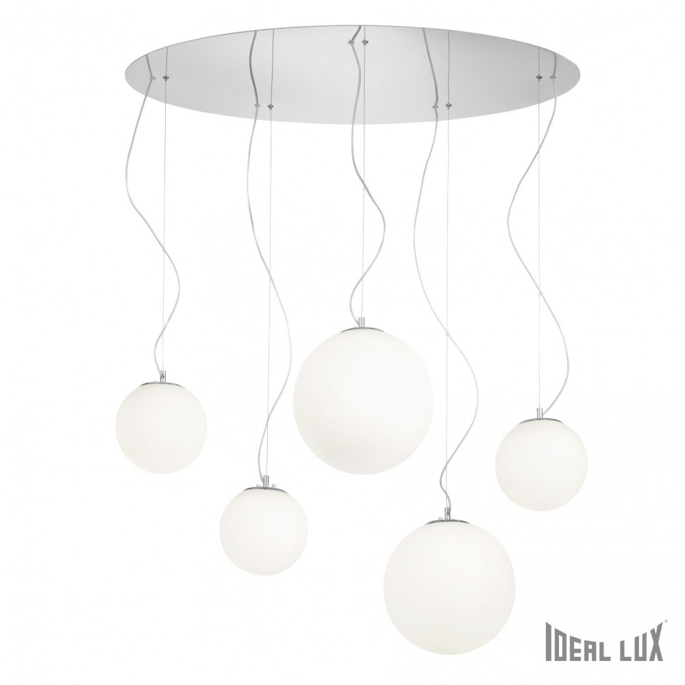 5-light white Mapa suspension lamp with chromed metal structure and white blown glasses