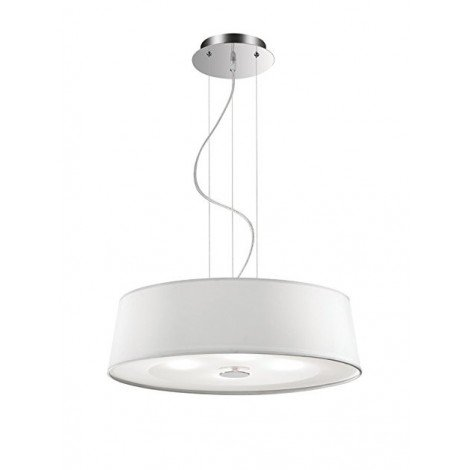 Hilton 4-light suspension lamp with chromed metal structure and fabric-covered lampshade