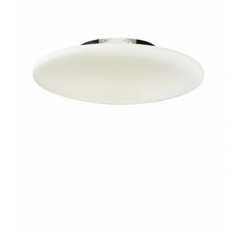 Smarties ceiling lamp in chromed metal and 2-light white acid-etched blown glass diffuser