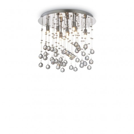 8 lights Moonlight ceiling lamp with chromed metal structure and pendants with octagons and crystal spheres