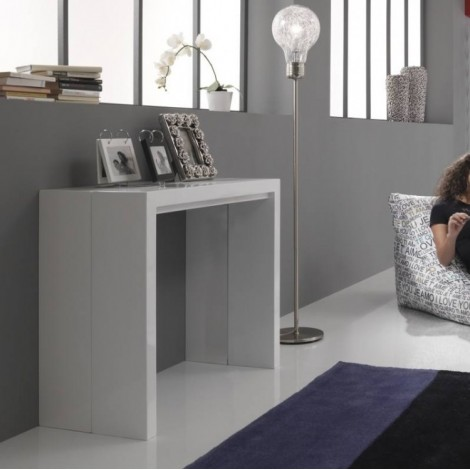 Tavolo Consolle Allungabile Bianco.New Net Extensible Console Table In Glossy White Lacquered Mdf