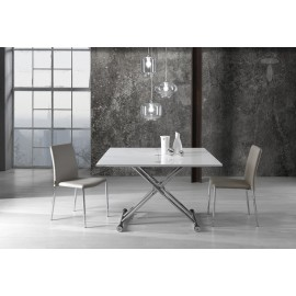 Flexy smoking table by Tomasucci with chromed metal structure and glossy lacquered wood top. Height adjustable