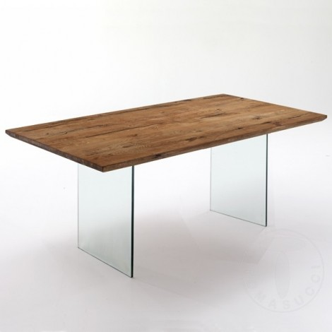 Float dining table or desk by Tomasucci with glass structure and solid wood top