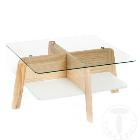 Varm living room table by Tomasucci with oak finish wood and transparent tempered glass top