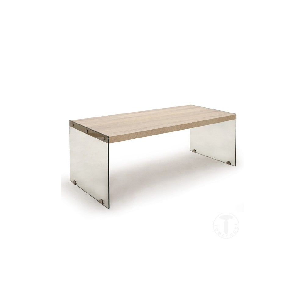 Nancy living room table by Tomasucci sides in transparent tempered glass and top in MDF wood