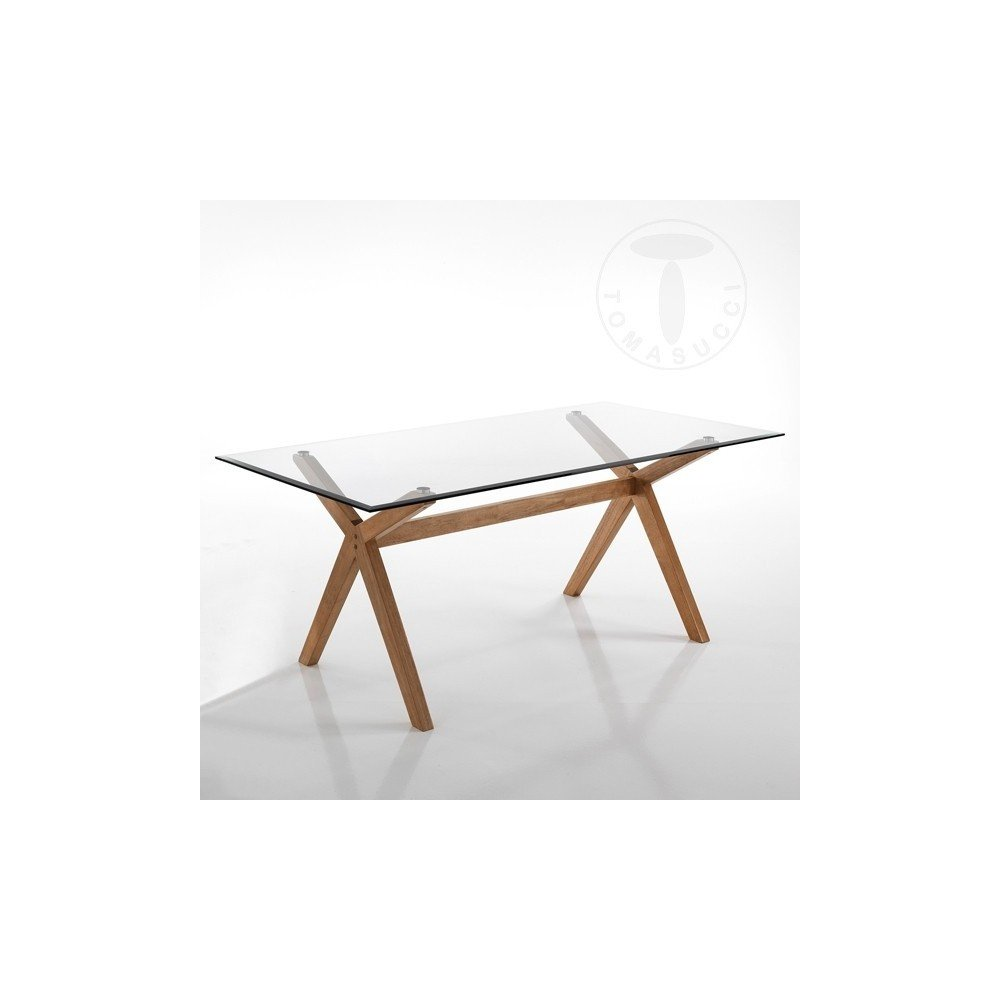 Kyra-X Fixed table of Tomasucci in solid wood and tempered glass top ...