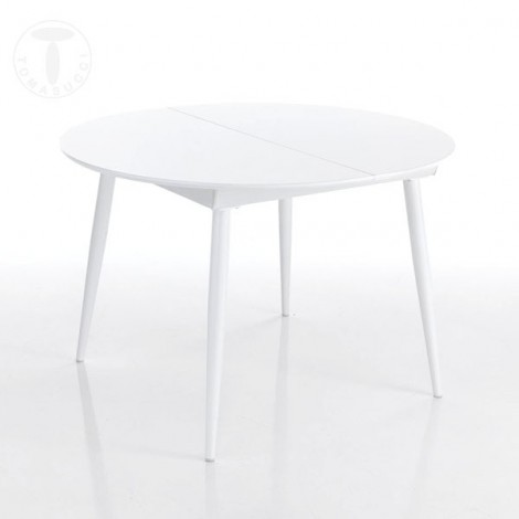 Astro Round extendable round table with structure in glossy white metal and top in glossy white lacquered wood