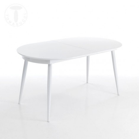Tomasucci Astro Ovale extendable oval table with glossy white metal legs and glossy white lacquered top