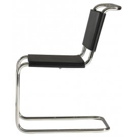 Re-edition of Cantilever chair by Mart Stamo in chromed tubular and seat in leather