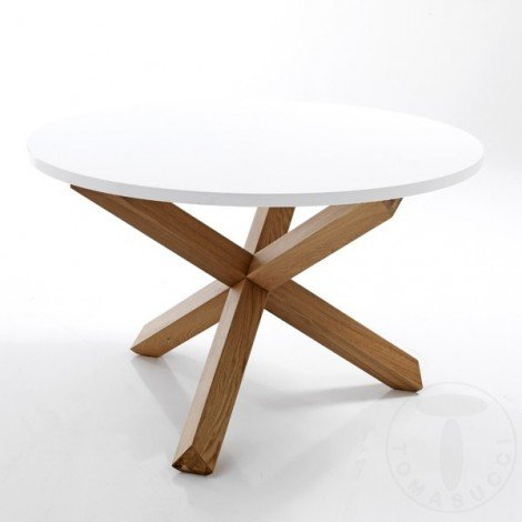 Round Frisia dining table by Tomasucci with structure in solid oak finish wood and top in matt white lacquered MDF