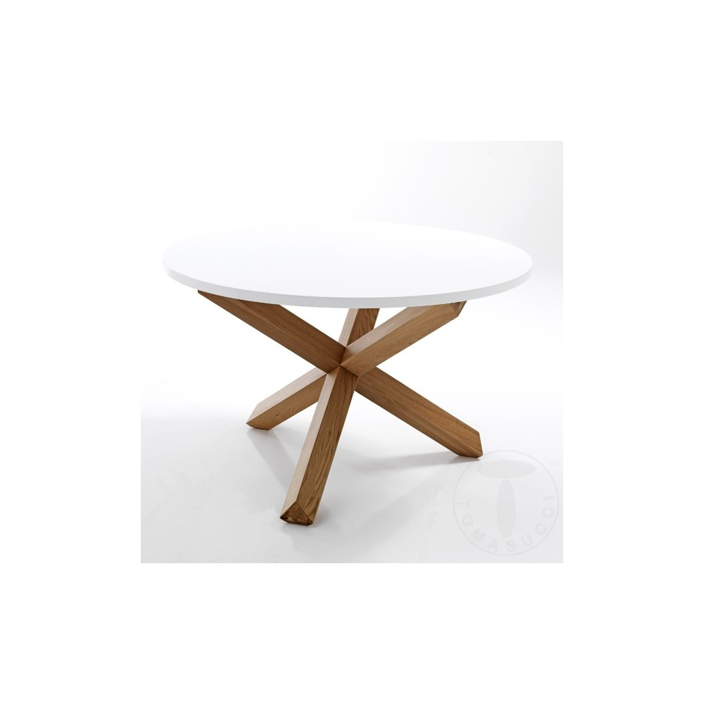 Frisia round dining table by Tomasucci with solid wood structure in Oak  finish and top in matt white lacquered MDF