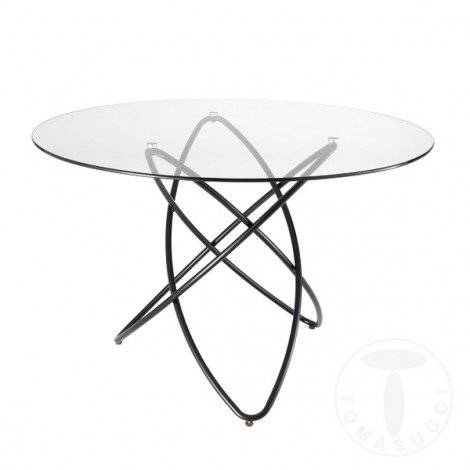 Round Hula Hoop table with black metal structure and paino available in wood or glass Diam. 120