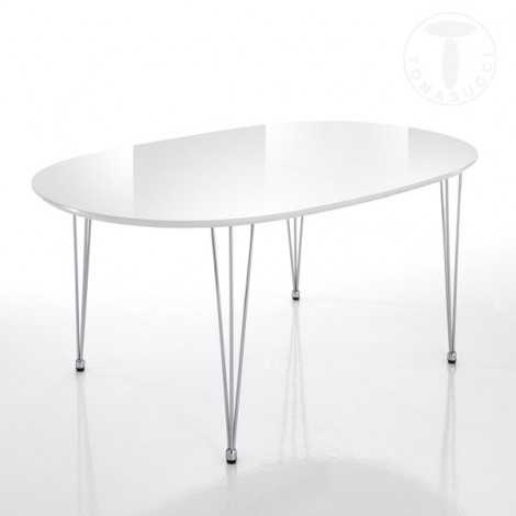 Elegant oval extendable table by Tomasucci with structure in stainless steel and top in bright glossy white MD