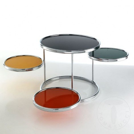 Tonk Tomasucci metal living room table with colored tempered glass top. Rotating structure