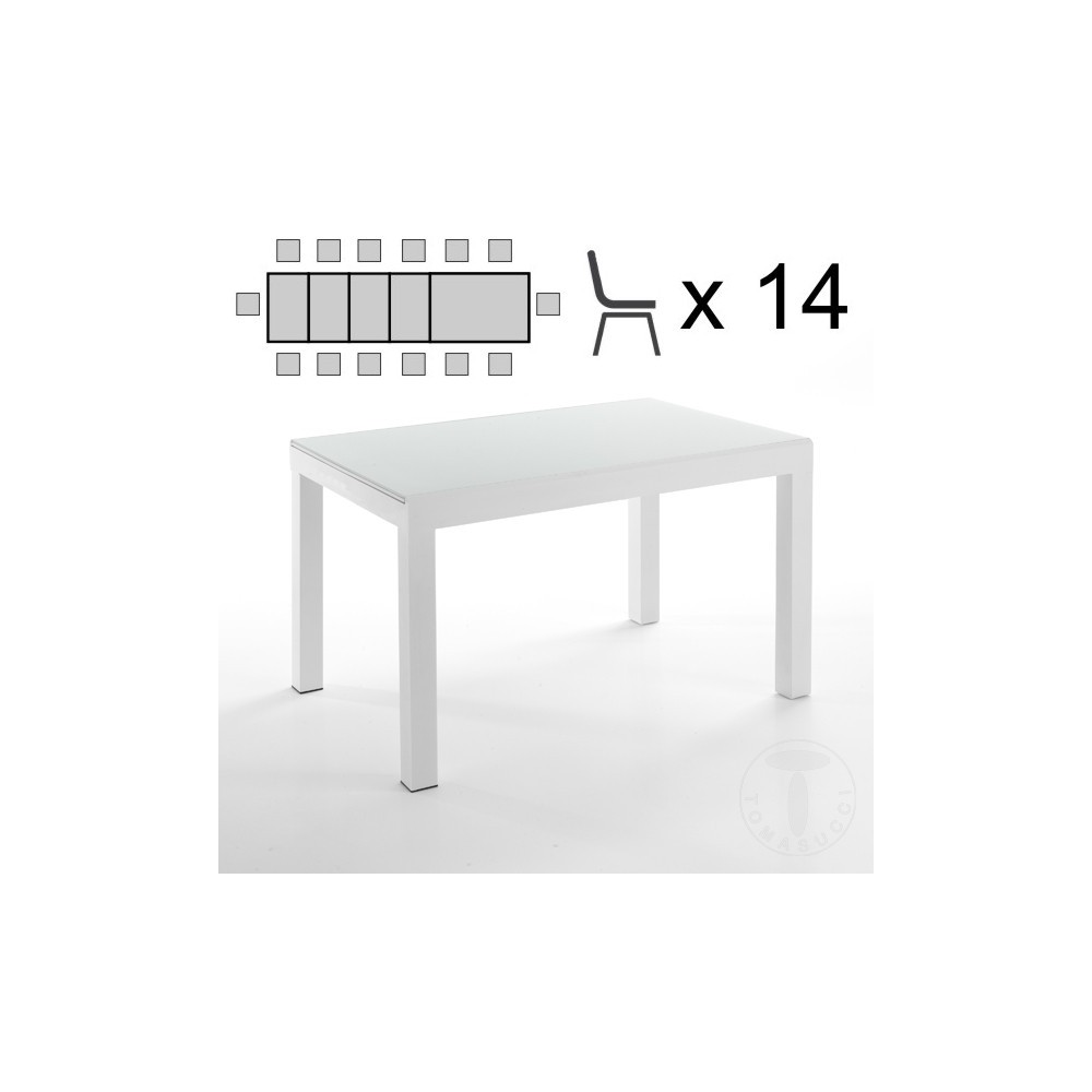Tavoli Allungabili Vetro Temperato.Tomasucci Long White Stretch Table With White Metal Frame And