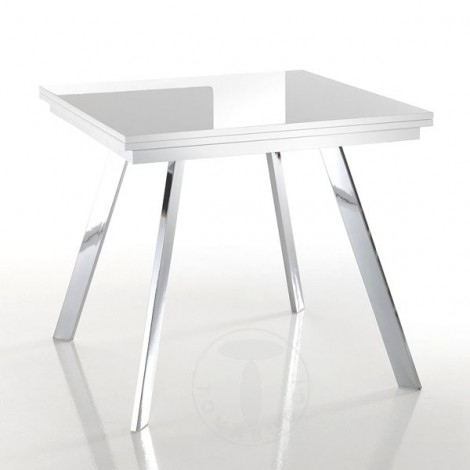 Riky extendable rectangular table by Tomasucci with chromed metal structure and glossy white lacquered MDF top