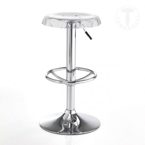 Tappo stool by Tomasucci with transparent methacrylic seat and metal structure adjustable in height