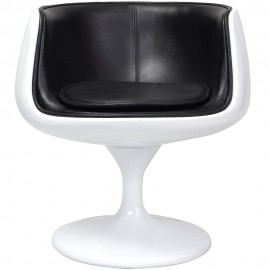 Re-edition of the Eero Aarnio swivel cup chair in fiberglass and real Italian leather