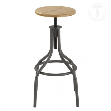 Vuntage Pajo stool by Tomasucci with metal structure available in two finishes and adjustable wooden seat with screw