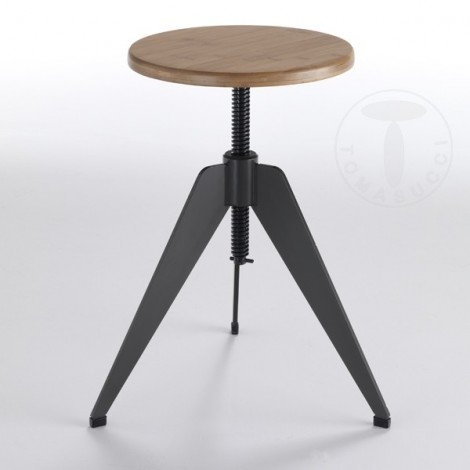 Arko stool by Tomasucci with structure in matt gunmetal-colored metal and wooden seat