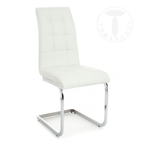 Set 4 Cozy chairs by Tomasucci with sled metal structure and covered in synthetic leather in three different finishes