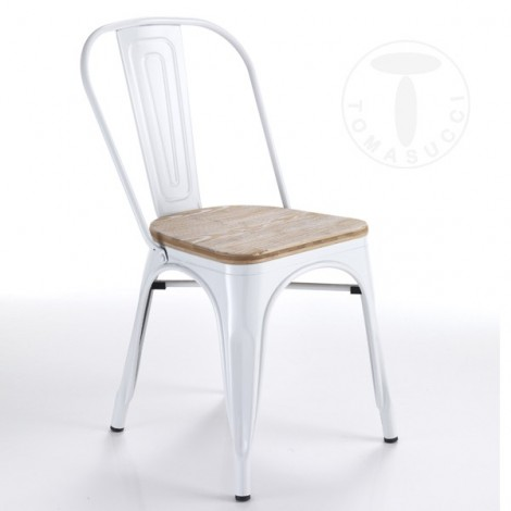 Set 4 Tomax chairs by Tomasucci in glossy white painted metal with seat in bleached oak solid wood