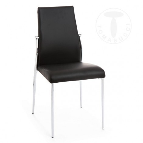 Set of 4 Margò chairs by Tomasucci with chromed metal frame covered in synthetic leather available in three colors