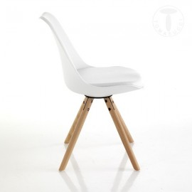 Set 2 Kiki Wood chairs by Tomasucci with solid wood legs, polypropylene shell and seat covered in synthetic leather