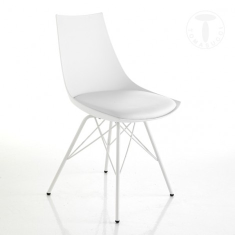 Set 2 Kiki chairs by Tomasucci with shiny gray metal legs, polypropylene shell and seat covered in synthetic leather