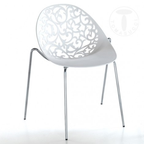 Set of 4 Eura Kromo chairs by Tomasucci stackable with chromed metal structure. Seat and back in white ABS